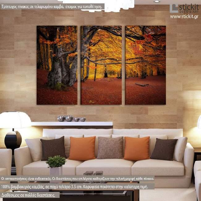 Πίνακας σε καμβά, Autumn colors forest, τρίπτυχος