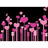 Λουλούδια καρδιές με ερωτευμένα πουλιά | Αυτοκόλλητο τοίχου , κοντινό