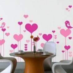 Λουλούδια καρδιές με ερωτευμένα πουλιά, αυτοκόλλητο τοίχου