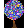 Δέντρο από λουλούδια , μπλέ φόντο, αυτοκόλλητο τοίχου, κοντινό