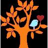 Καρδιά και πουλί σε υπέροχο συνδυασμό πορτοκαλί , αυτοκόλλητο τοίχου , κοντινό