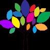 Δέντρο με έντονα χρώματα, αυτοκόλλητο τοίχου , κοντινό