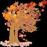 Φθινοπωρινό δέντρο , αυτοκόλλητο τοίχου, κοντινό