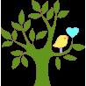 Καρδιά και πουλί πράσινο, αυτοκόλλητο τοίχου, κοντινό