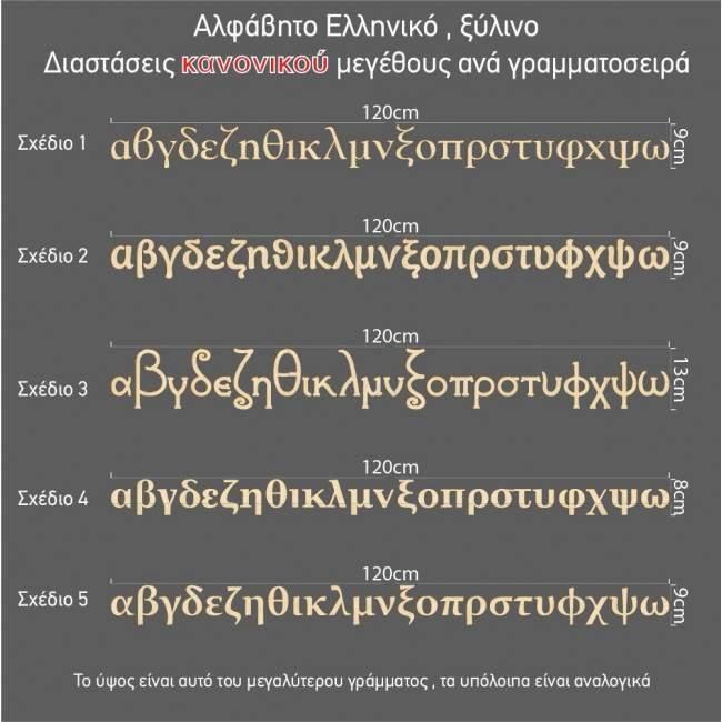 Αλφάβητο ελληνικό, ξύλινα πεζά γράμματα