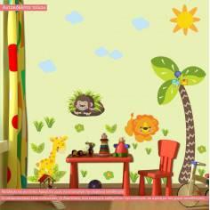 Αυτοκόλλητο τοίχου, υψομετρητής, Γοριλάκι, λιονταράκι, καμηλοπάρδαλη και δέντρο, Love nature