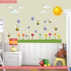 Αυτοκόλλητα τοίχου παιδικά, Μελισσούλες, λουλούδια, γαλάζιες πεταλούδες