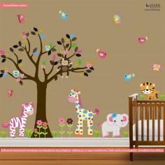 Αυτοκόλλητα τοίχου παιδικά, ζωάκια ζούγκλας και δέντρο, Cute Pink Africa