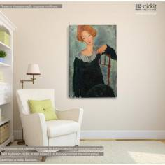 Woman with red hair, Amedeo Modigliani, αντίγραφο - αναπαραγωγή πίνακα σε καμβά