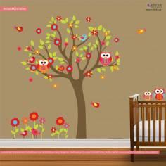 Αυτοκόλλητο τοίχου, δέντρο, κουκουβάγιες, λουλούδια και πουλάκια, Happy owls