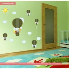 Βόλτα με αερόστατο (earth green) , παράσταση σε αυτοκόλλητα τοίχου