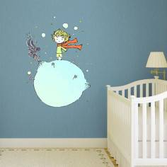 Μικρός πρίγκηπας ,αυτοκόλλητο τοίχου με τον μικρό πρίγκιπα και την υδρόγειο