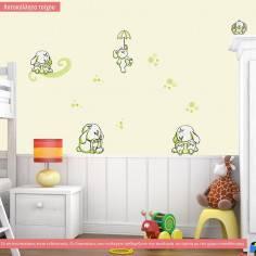 Αυτοκόλλητα τοίχου παιδικά, κουνελάκια παντού apple green, μικρή συλλογή
