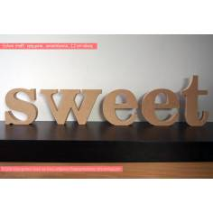 sweet, ξύλινα γράμματα αυτοστηριζόμενα