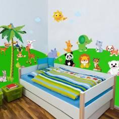Ζωάκια της ξηράς , αυτοκόλλητα τοίχου με ζώακια δέντρα, ήλιο , σύννεφα