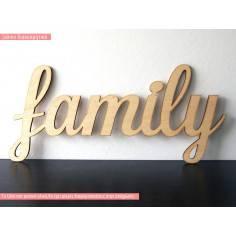 Family, διακοσμητική πινακίδα , λέξη , ξύλινη