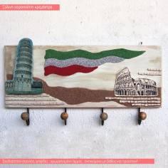 Ιταλία ,θεματική ξύλινη χειροποίητη τρισδιάστατη κρεμάστρα