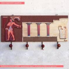 Κνωσσός, θεματική ξύλινη χειροποίητη τρισδιάστατη κρεμάστρα