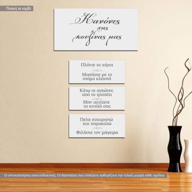 Κανόνες της κουζινας μας, πίνακες σε καμβά