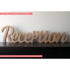 Reception, διακοσμητική πινακίδα, λέξη, ξύλινη,αυτοστηριζόμενη (Freestanding)