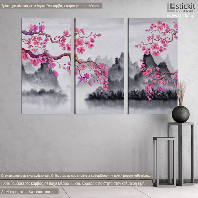 Spring Japanese scenery, τρίπτυχος πίνακας σε καμβά