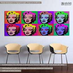 Marilyn Monroe pop art, πανοραμικός πίνακας σε καμβά