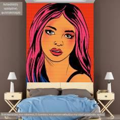 Pop art, girl, φωτογραφική ταπετσαρία αυτοκόλλητη