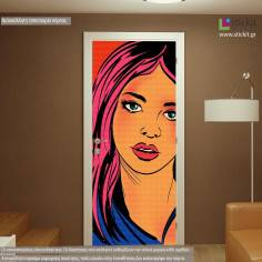 Pop art girl, αυτοκόλλητο πόρτας