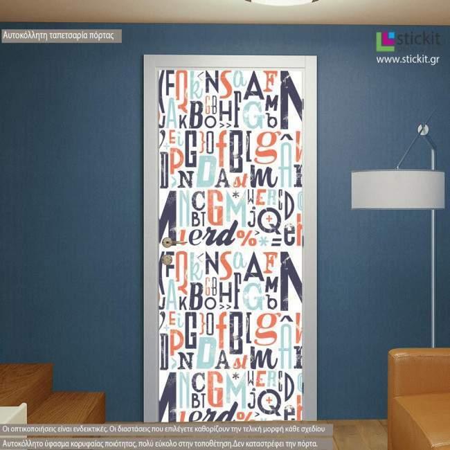 Typography V, αυτοκόλλητο πόρτας