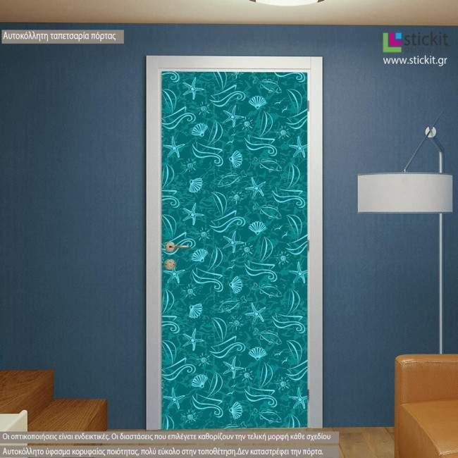 Sealife pattern, αυτοκόλλητο πόρτας