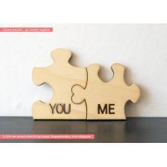 You and me ή τα ονόματα σας, μεγάλο puzzle με ένωση καρδιά, ξύλινο