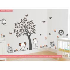 Αυτοκόλλητα τοίχου παιδικά, ζωάκια της ζούγκλας και δέντρο, Jungle animals, τεράστια παράσταση