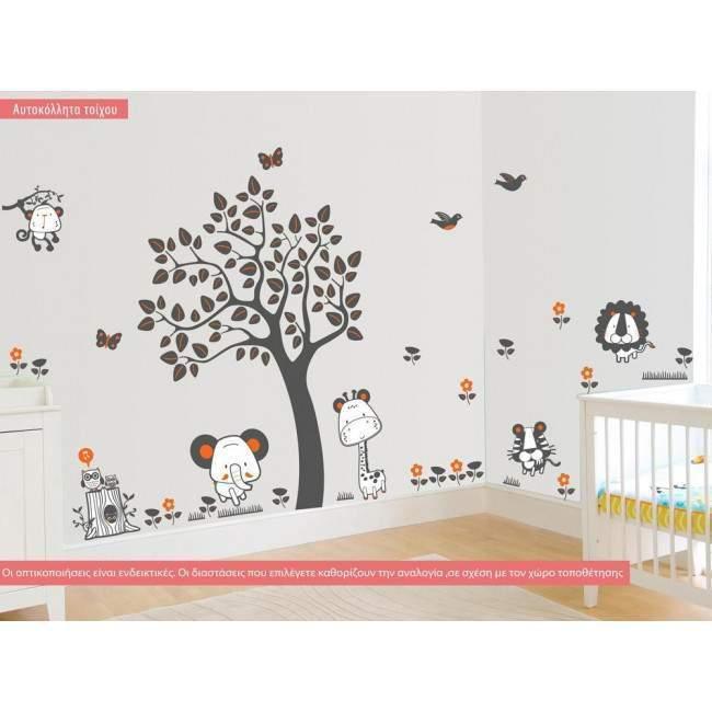 Αυτοκόλλητο τοίχου, ζωάκια της ζούγκλας και δέντρο, Jungle animals, τεράστια παράσταση