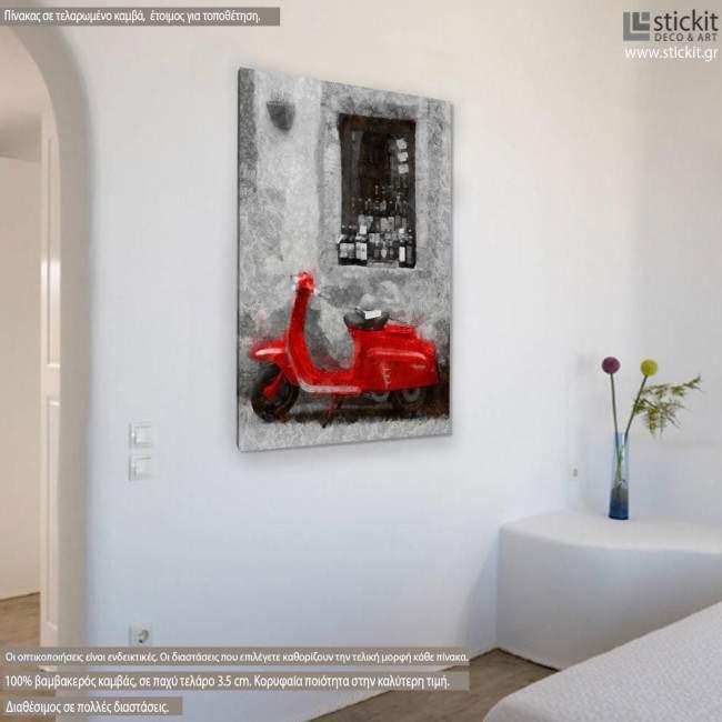 Vespa scene red, πίνακας σε καμβά