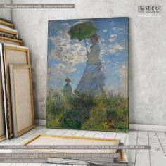 Woman with a parasol, Monet, αντίγραφο - αναπαραγωγή πίνακα σε καμβά