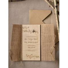 Love birds , ξύλινο προσκλητήριο γάμου