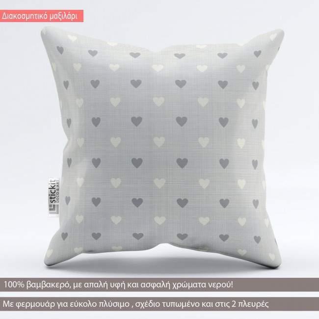 Little hearts faded blue, διακοσμητικό μαξιλάρι
