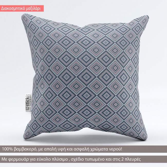 Ethnic rhombus blue tribal, διακοσμητικό μαξιλάρι