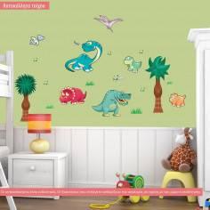 Happy Dinos. Δεινόσαυροι, συλλογη αυτοκόλλητα τοίχου