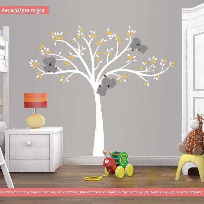 Αυτοκόλλητα τοίχου, Χαριτωμένα κοάλα, λευκό δέντρο, ολόκληρη παράσταση