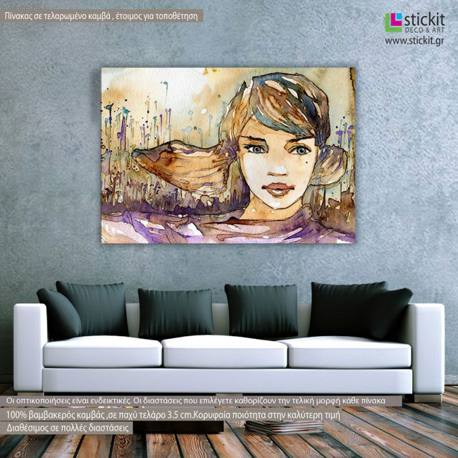 Girl watercolor, πίνακας σε καμβά