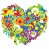 Καρδιά από λουλούδια, Αυτοκόλλητο τοίχου, κοντινό