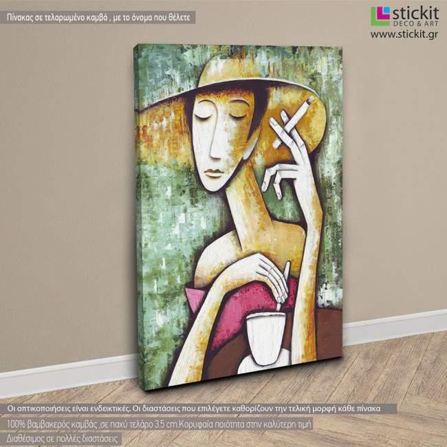 Lady in cafe I , πίνακας σε καμβά