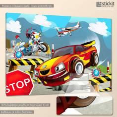 Speeding car, παιδικός - βρεφικός πίνακας σε καμβά