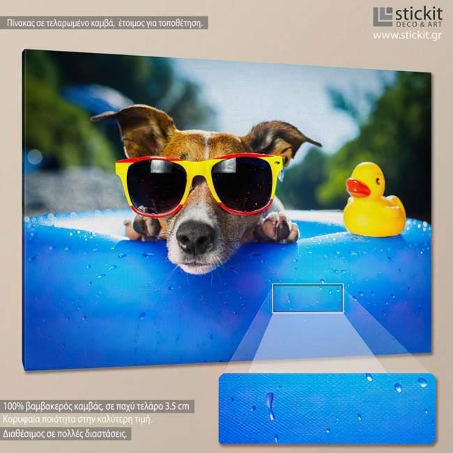 Dog with glasses, πίνακας σε καμβά