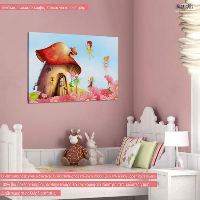 House with fairies, παιδικός - βρεφικός πίνακας σε καμβά