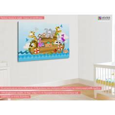 Noah's ark, παιδικός - βρεφικός πίνακας σε καμβά