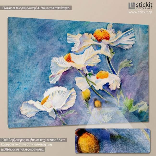 White poppies, πίνακας σε καμβά
