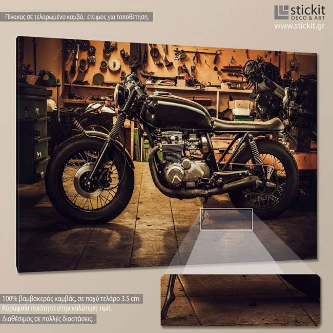Vintage motorcycle, πίνακας σε καμβά