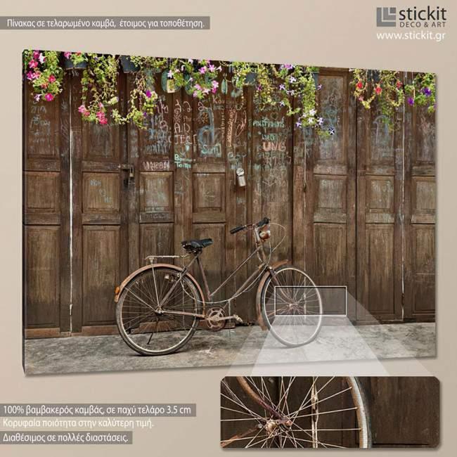 Οld style rusty brown bicycle, πίνακας σε καμβά